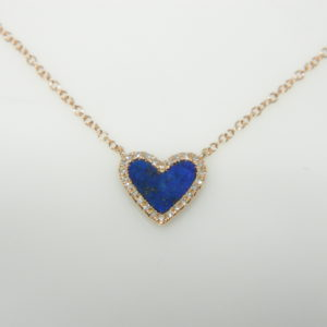 "14 Karat Rose Gold Mounted 18"" Necklace with 1 Lapis weighing 0.44cts & 26 Round Cut Diamonds weighing 0.07cts"