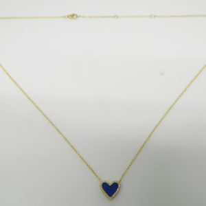 "14 Karat Yellow Gold Mounted 18"" Heart Necklace with 1 Lapis weighing 0.40cts & 26 Round Cut Diamonds weighing 0.07cts"