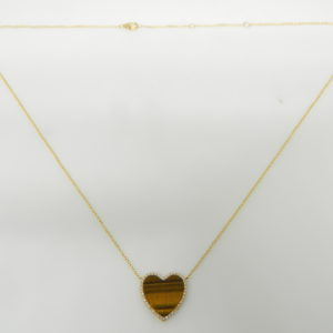 "14 Karat Yellow Gold Mounted 18"" Heart Necklace with 1 Tiger Eye weighing 3.35cts & 44 Round Cut Diamonds weighing 0.11cts"