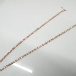 "14 Karat Rose Gold Mounted 16.5"" Illusion Set Necklace with 112 Round Cut Diamonds weighing 7.04cts"