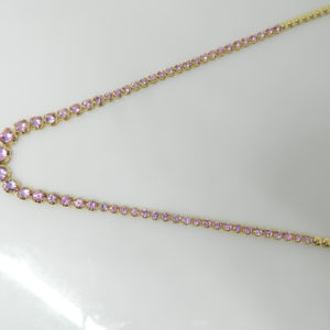 "14 Karat Yellow Gold Mounted 16.5"" Necklace with 59 Round Cut Diamonds weighing 5.19cts"
