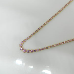 "14 Karat Yellow Gold Mounted 16.5"" Necklace with 134 Round Cut Pink Sapphires weighing 8.08cts"