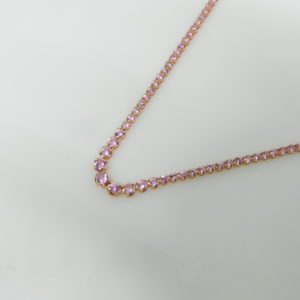 "14 Karat Rose Gold Mounted 16.5"" Necklace with 134 Round Cut Pink Sapphires weighing 7.96cts"
