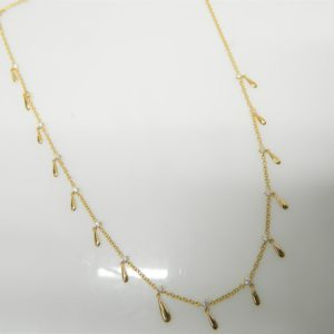 "18 Karat Yellow Gold Mounted 16-18"" Necklace with 15 Round Cut Diamonds weighing 0.58cts."
