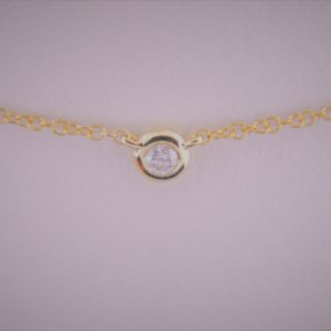14 Karat Rose Gold Mounted 18'' Necklace with 1 round Diamond weighing 0.05ct