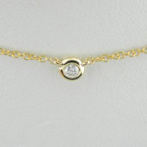 14 Karat Yellow Gold Mounted 18'' Necklace with 1 round Diamond weighing 0.05ct