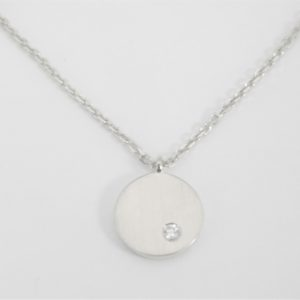 18 Karat White Gold Mounted 18'' Necklace with 1 Round Cut Diamond weighing 0.02ct.