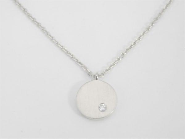 18 Karat White Gold Mounted 18'' Necklace with 1 Round Cut Diamond weighing 0.02ct.