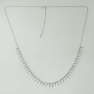 14 Karat White Gold Mounted 18'' Necklace with 80 Round Cut Diamonds weighing 0.48cts