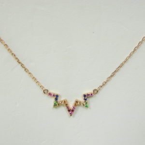 14 Karat Rose Gold Mounted Rainbow 18'' Necklace with 23 Round Cut Multi-Color Sapphires weighing 0.10ct tw.