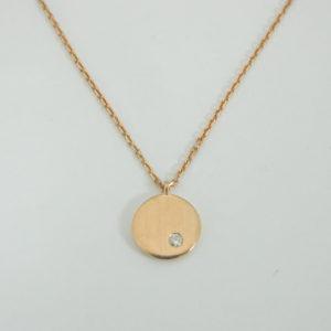 18 Karat Rose Gold Mounted 18'' Necklace with 1 Round Cut Diamond weighing 0.02ct.