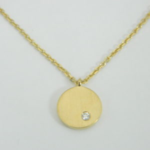18 Karat Yellow Gold Mounted 18'' Necklace with 1 Round Cut Diamond weighing 0.02ct.