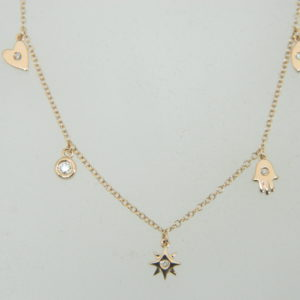 14 Karat Rose Gold Mounted 18'' Necklace with 5 Round Cut Diamonds weighing 0.07ct tw.