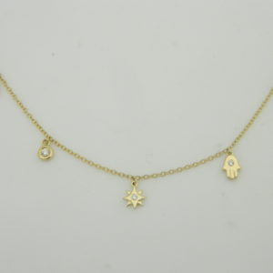 14 Karat Yellow Gold Mounted 18'' Necklace with 5 Round Cut Diamonds weighing 0.07ct tw.