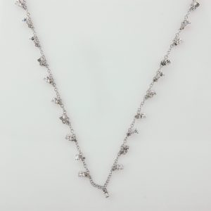 18 Karat White Gold Mounted Necklace with 24 Round Cut Diamonds weighing 1.05cts