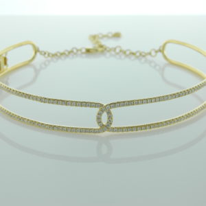 18 Karat Yellow Gold Choker Mounted Necklace with 128 Round Cut Diamonds weighing 2.07cts tw.