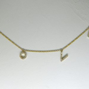 "14 Karat Yellow Gold Mounted ""Love"" 17'' Necklace with 53 Round Cut Diamonds weighing 0.15ct tw."