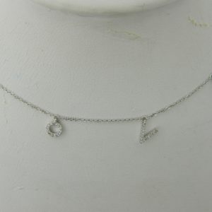 "14 Karat White Gold Mounted ""Love"" Necklace with 53 Round Cut Diamonds weighing 0.15ct tw."