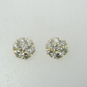 14 Karat Yellow Gold Stud Mounted Earrings with 14 Round Cut Diamonds weighing 1.50cts.