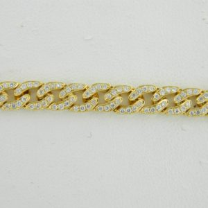 """18 Karat Yellow Gold Straight Line Mounted 7"""" Bracelet with 315 Round Diamonds weighing 1.69cts"""