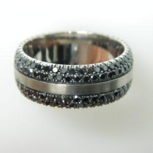 14 Karat Grey Gold Band Mounted Ring with Round Cut Black Diamonds weighing 2.60cts -Size 10