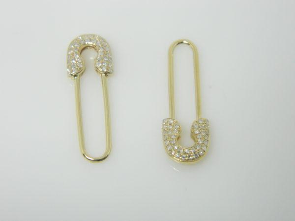14 Karat Yellow Gold Drop Mounted Earrings with 74 Round Cut Diamonds weighing 0.18ct tw.