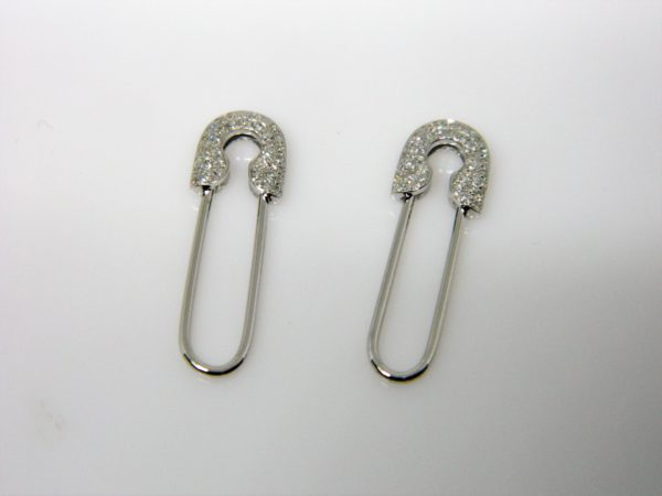 14 Karat White Gold Drop Mounted safety pin Earrings with 74 Round Cut Diamonds Weighing 0.18cts.