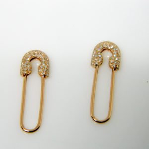 14 Karat Rose Gold Drop Mounted Safety pin Earrings with 74 Round Cut Diamonds Weighing 0.19cts.