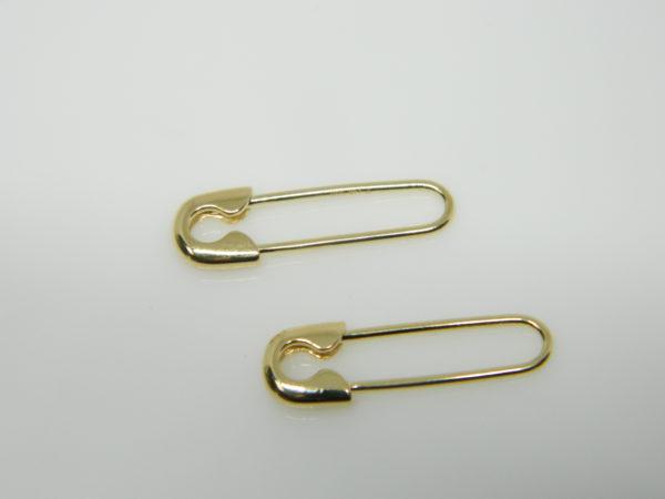 14 Karat Yellow Gold Dangle Safety Pin Earrings