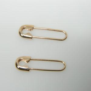 14 Karat Rose Gold Dangle Safety Pin Earrings