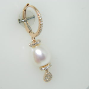 14 Karat Rose Gold Pearl Mounted Earrings with 110 Round Cut Diamonds weighing 0.32cts & 2 Pearl 8x9mm