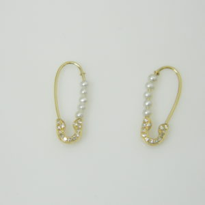 14 Karat Yellow Gold 2MM Fresh Water Pearl Mounted Earrings with 26 Round Cut Diamonds weighing 0.06ct tw.