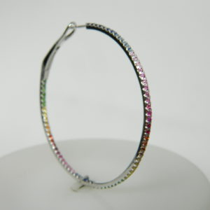 14 Karat White Gold Hoops Earrings with 148 Round Cut Multi-Colored Sapphires weighing 2.06cts.