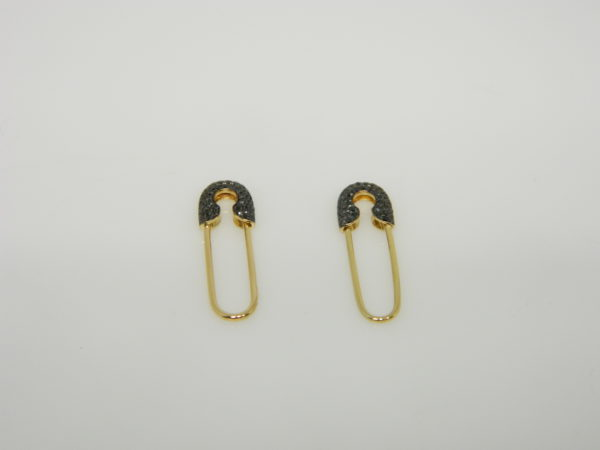 14 Karat Yellow Gold Drop Mounted Safety Pin Earrings with 74 Round Cut Black Diamonds weighing 0.22cts