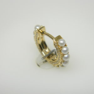 14 Karat Yellow Gold Hoops Earrings with 22 2mm Fresh Water Pearls & 92 Round Cut Diamonds weighing 0.18cts