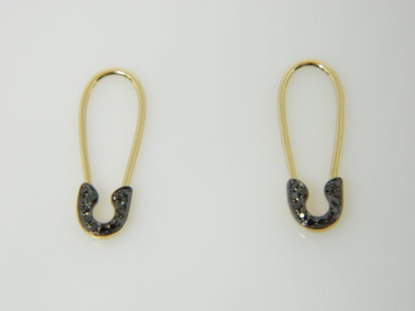 14 Karat Yellow Gold Drop Mounted Earrings with 26 Round Cut Black Diamonds weighing 0.07cts