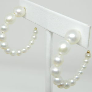 14 Karat Yellow Gold Pearl Earrings With 26 Fresh Water Pearls 4-8.5mm