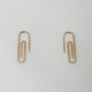 14 Karat Rose Gold Drop Mounted Paper Clip Earrings with 94 Round Cut Diamonds weighing 0.27cts