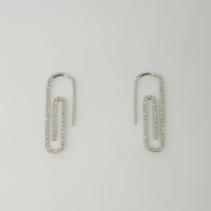 14 Karat White Gold Drop Mounted Earrings with 94 Round Cut Diamonds weighing 0.27cts