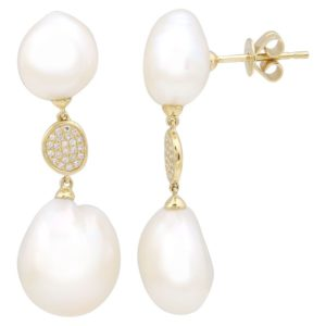 14 Karat yellow Gold Pearl Mounted Earrings with 46 Round Cut Diamonds weighing 0.10cts & 4 Pearls