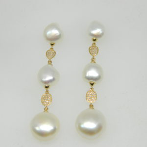 14 Karat Yellow Gold Pearl Mounted Earrings with 66 Round Cut Diamonds weighing 0.14cts & 6 Pearls