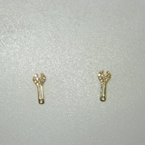 14 Karat Yellow Gold Stud Mounted Wrench Earrings with 22 Round Cut Diamonds weighing 0.06cts.