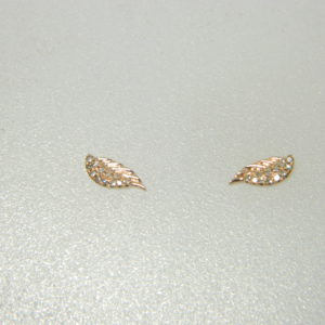 14 Karat Rose Gold Stud Mounted Earrings with 24 Round Cut Diamonds weighing 0.05cts