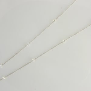 "18 Karat White Gold Mounted 18"" Necklace with Diamonds weighing 1.03cts."
