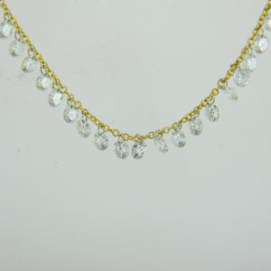 18 Karat Yellow Gold Mounted 18'' Necklace with 22 Round Cut Diamonds weighing 1.99cts tw.