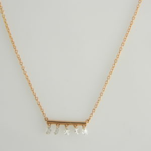 "14 Karat Rose Gold Mounted Bar Pendant 18"" Necklace with 5 Diamonds on Bar and 1 on Clasp Loop weighing 0.39cts."