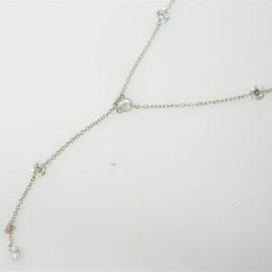 14 Karat White Gold Mounted Necklace with 5 Round Cut Diamonds weighing 0.90cts.