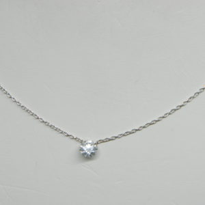 18 Karat White Gold Mounted Necklace with 1 Round Cut Diamonds weighing 0.46ct.s