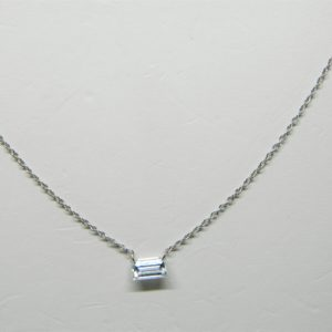 18 Karat White Gold Mounted Necklace with 1 Emerald Cut Diamond weighing 0.45cts.