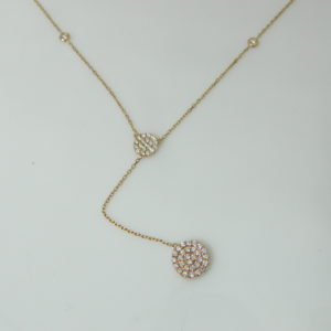 14 Karat Rose Gold Mounted 18'' Necklace with 83 Round Cut Diamonds weighing 0.88CTS